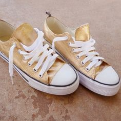 Have you ever dreamed of real gold shoes? Check out how to make these awesomely gold kicks!