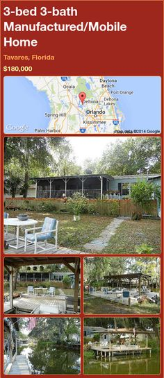 3-bed 3-bath Manufactured/Mobile Home in Tavares, Florida ►$180,000.00 #PropertyForSale #RealEstate #Florida http://florida-magic.com/properties/74854-manufactured-mobile-home-for-sale-in-tavares-florida-with-3-bedroom-3-bathroom