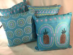 Geometric Turquoise Pillow 18x18 inch by McDonaldMixedMedia