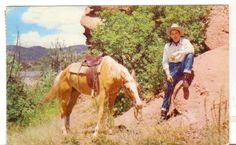 1960 Postmarked Postcard Cowboy and Horse Along the Trail Wyoming WY