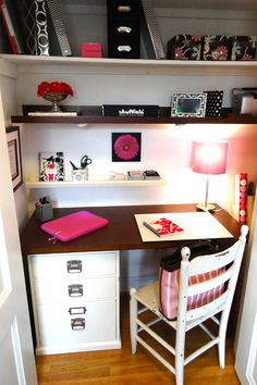An office nook! A closet becomes a contemporary office space with the addition of a desk and some shelves.