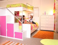 Awesome bunk bed for girls or boy...love storage
