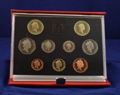1989 United Kingdom UK Proof coin collection COA red leather case