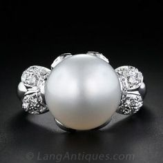 Contemporary South Sea Pearl and Diamond Ring