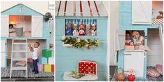 Bedstee voor op de kinderkamer met heel veel details: luiken, deur, vensterbank, gordijntjes, hijskraan, deurbel, vlaggenmast en plankje