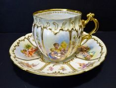Antique Donath Dresden Tea Cup & Saucer, Cherubs (item You can appreciate morning meal or various time times applying tea cups. Tea cups likewise have decorative features. Whenever you look at the tea cup models, you might find this clearly. Tea Cup Set, Cup And Saucer Set, Tea Cup Saucer, Tea Sets, Antique Tea Cups, Vintage Cups, Dresden, Teapots And Cups, Teacups