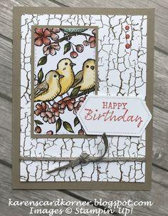 karenscardkorner: Stampin' Up! Free As A Bird Birthday Card Birthday Cards For Women, Funny Birthday Cards, Handmade Birthday Cards, Greeting Cards Handmade, Card Birthday, Card Making Templates, Crackle Painting, Paint Cards, Stamping Up Cards