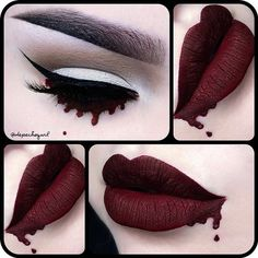 beauty Halloween lips cosmetics Witch Make up darkness goth gothic kat von d red lips tutorial black lips witches gothic makeup lime crime nu goth dark fashion all black gothic fashion dark beauty gothic beauty red lisptick nu goth fashion depechegurl Sfx Makeup, Costume Makeup, Makeup Art, Blood Makeup, Beauty Makeup, Nu Goth Makeup, Witchy Makeup, Face Makeup, 50s Costume