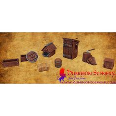 Dungeon Scenery is modular terrain for board games, wargames, RPG, D&D Wooden Wheel, Dry Stone, Ancient Architecture, Miniature Furniture, Dog Houses, Dungeons And Dragons, Flower Pots, Saga, Crates