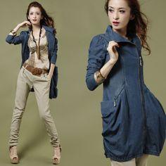风衣2012秋季新款韩版休闲修身型薄款拉链翻领长袖牛仔外套风衣女-淘宝网