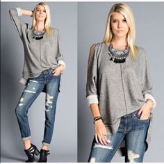 French terry cut out cold shoulder top Chic great fitting French terry cold shoulder top PLEASE comment on the size you want and allow me to make you a personalized listing BUNDLE AND SAVE 10% Tops Sweatshirts & Hoodies