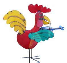 Large metal roosters are a fun way to liven up the garden or any dull spot in the landscape. Greet your guests with a little jamming interlude and bold color upon arrival. Handcrafted in Mexico, color
