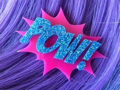 Comic Book Clip POW Pink and Blue Glitter Laser by GlitterbombUK, £8.00
