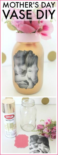 Easy Mother's Day photo vase craft. This is a perfect last-minute gift that your… Easy Mother's Day photo vase craft. Kids Crafts, Diy Mother's Day Crafts, Mothers Day Crafts For Kids, Vase Crafts, Diy Mothers Day Gifts, Fathers Day Crafts, Mother's Day Diy, Crafts To Make, Mason Jar Crafts