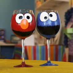 Elmo and Cookie Monster wine glasses - hand painted.