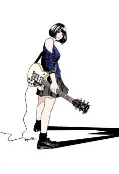 """江口寿史 on Twitter: """"「ギターと女子」の新しい絵、描いたよ。 http://t.co/iGtz3oLiL4"""""""