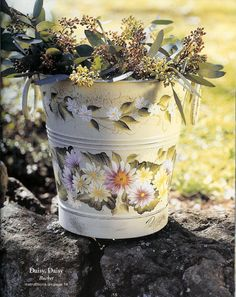 Pretty painted bucket.