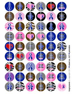 Blue Colon Cancer Awareness Digital Collage Sheet (No. 534) - 1 Inch Circles for Bottle Caps, Magnets, Hair Bow Centers, Stickers, & More. $3.00, via Etsy.