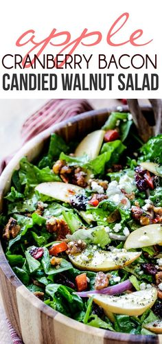 Apple Cranberry Bacon Candied Walnut Salad with Apple Poppy Seed Vinaigrette belongs on your table this Thanksgiving and all Autumn long! The perfect STRESS FREE make ahead side!