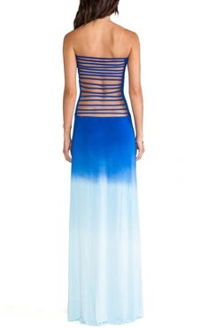 Blue Back Bandage Strapless Bustier Maxi Party Dress