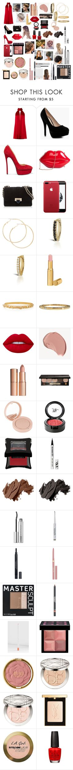 """Red Dress"" by mikahelaine ❤ liked on Polyvore featuring Galvan, Boohoo, Casadei, Aspinal of London, Maria Tash, Too Faced Cosmetics, Hueb, Cartier, Lime Crime and Burberry"