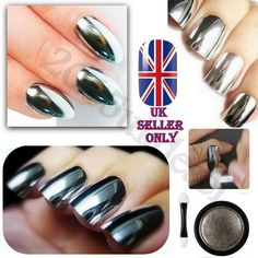 SALE Mirror Chrome Effect Nail Powder No Polish Foil Nails Art Glitter Silver in Health & Beauty, Nail Care, Manicure & Pedicure, Nail Polish | eBay!