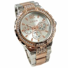 ALEXIS FW977B Rose Gold + PNP Band Water Resist Silver Dial Ladies Women Bracelet Watch