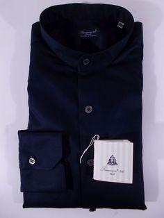 FINAMORE camicia UOMO sartoriale classica COTONE collo coreana BLU tg. 40 NWT