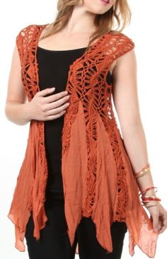 Bohemian Chic Cowgirl Vest Top Perfect Western Top To Achieve That Hippie Cowgirl Look $43.99 Available In Plus Sizes Too!!