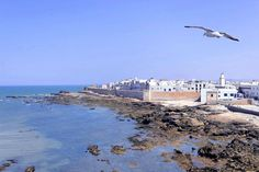Vista parcial de Essaouira. Esta ciudad, Patrimonio de la Humanidad por la UNESCO, es una ciudad luminosa de playas largas y plateadas, un lugar perfecto para pasar un fin de semana lejos del bullicio, el afecto y carácter hospitalario de sus gentes ofrece una tranquilidad perdida en el tiempo. Ubicada en la costa atlántica, en el oeste de Marruecos, le permitió ser, el siglo 19, el primer puerto de Marruecos, con el volumen del comercio de los dobles de Rabat.