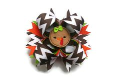 Thanksgiving Hair Bow Thanksgiving hairbow Chevron hair bow in brown, green and orange on Etsy, $9.99