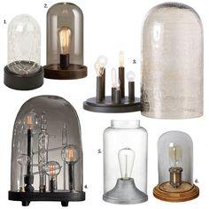 Covered Cloche Edison Light Bulb Lamps