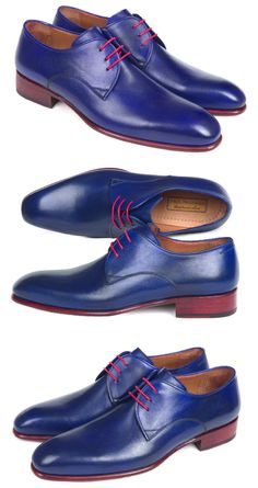 Paul Parkman Blue Hand Painted Derby Shoes  Website: www.paulparkman.com  #paulparkman #paulparkmanshoes #derbyshoes  #goodyearwelted #mensderbyshoes #mensdesignershoes  #handmade #bespoke #luxury #shoemaker #handcrafted #shoesformen #mensshoes #handmadeshoes #handcraftedshoes #patinashoes #bespokeshoes #customshoes #luxuryshoes #luxuryshoemaker #bespokeshoemaker #mensluxuryshoes #luxurymenswear