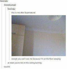 Supernatural Tumblr // Burning on the ceiling