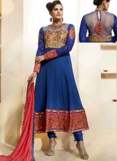 Magical Blue Embroidery Work Georgette Anarkali Suit http://www.angelnx.com/Salwar-Kameez/Anarkali-Suits
