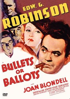 A tough New York cop goes undercover to crack an influential crime ring in this well-done gangster movie starring Edward G. Robinson, Humphrey Bogart.    http://family-friendly-movies.com/crime/bullets-or-ballots/