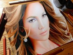 Drawing Jennifer Lopez - Colored Pencil Time-lapse Sketch by Heather Rooney on YouTube