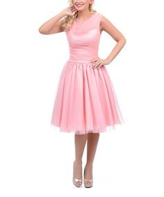 This Peach Tulle Cowl Neck Fit & Flare Dress - Women & Plus by Unique Vintage is perfect! #zulilyfinds