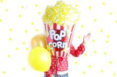 Popcorn Balloon - mylar balloon for movie night, carnival, circus