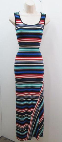 Calvin Klein Blue Red Green Striped Tank Stretch Jersey Long Maxi Dress NEW #CalvinKlein #MaxiDress