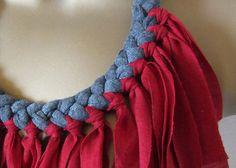 Red and grey fringe fabric necklace bib statemet by Paczula