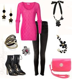 Love the color combination of Hot Pink + Black....dont think I could walk in those heels