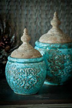 MM94 shabby chic decorative ceramic jars
