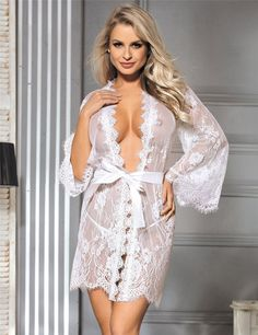 Look at this White Sheer Scalloped Lace Robe & G-String - Women Belle Lingerie, Bridal Lingerie, Sexy Lingerie, Lingerie Sleepwear, Women Lingerie, Night Dress For Bridal, Wedding Night Lingerie, Bridal Nightwear, Look Plus Size