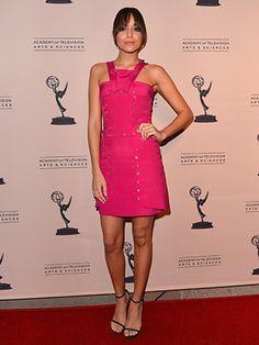 Ashley Madekwe in bright pink Versace.