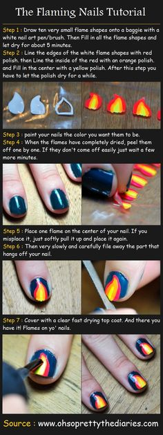 The Flaming Nails Tutorial | Beauty Tutorials these would be perfect for the Catching Fire premier