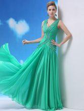 Vestido de noche de seda brillante de verde marino sin mangas con escote en V