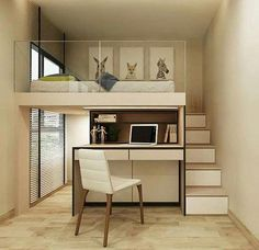 Expert Advice 3 Furniture SpaceSaving Tricks for Small Units is part of Small room bedroom - Take tiny house living to the next level by using modular furniture that you can hide, fold, extend, and stack Room Design Bedroom, Home Room Design, Small Room Bedroom, Bedroom Loft, Small Rooms, Small Apartments, Home Interior Design, Tiny Bedrooms, Mezzanine Bedroom
