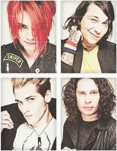 MCR-- Gerard's smile in this picture just makes me melt!  Frankie is just adorkable! Mikey is just so cool! Ray is just...awesome!  Sigh....