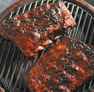Grilled Spareribs with Maple-Chipotle Glaze-Sweet and a little spicey, yum!